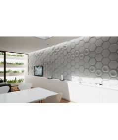 VT - PB01D (B1 siwo biały) HEKSAGON - panel dekor 3D beton architektoniczny