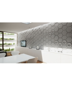 VT - PB01D (KS ivory) HEXAGON - 3D architectural concrete decor panel
