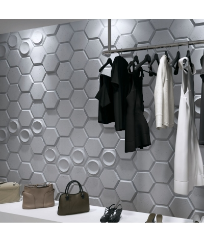 VT - PB01D (S51 szary ciemny 'mysi') HEKSAGON - panel dekor 3D beton architektoniczny
