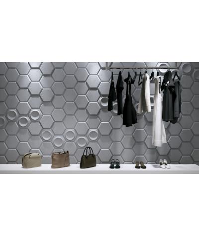 PB01D (S95 light gray 'dove') HEXAGON - 3D architectural concrete decor panel