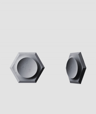 PB01D (B8 anthracite) HEXAGON - 3D architectural concrete decor panel