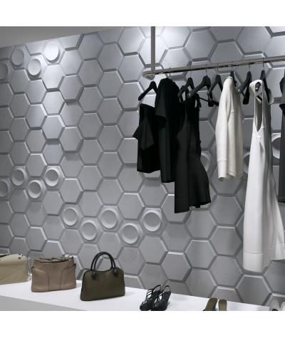 PB01D (BS snow white) HEXAGON - 3D architectural concrete decor panel