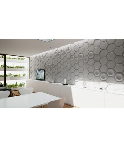 VT - PB01 (B1 siwo biały) HEKSAGON - panel dekor 3D beton architektoniczny