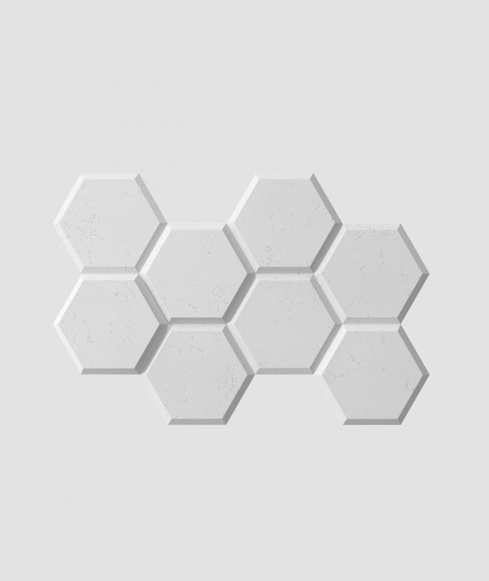 PB01 (S50 light gray 'mouse') HEXAGON - 3D architectural concrete decor panel