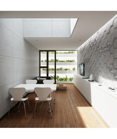 PB01 (S95 light gray 'dove') HEXAGON - 3D architectural concrete decor panel