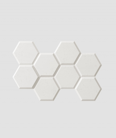 PB01 (BS snow white) HEXAGON - 3D architectural concrete decor panel