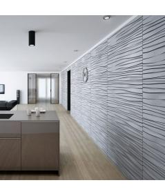PB03 (S50 light gray 'mouse') WAVES - 3D architectural concrete decor panel
