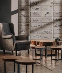 DS Choco (cappuccino - złote kruszywo) - beton architektoniczny panel 3D