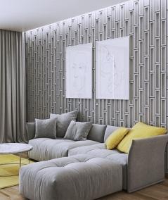 VT - PB52 (S50 light gray - mouse) RECTANGLES - 3D decorative panel architectural concrete