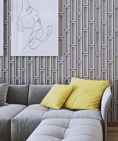 VT - PB52 (B1 gray white) RECTANGLES - 3D decorative panel architectural concrete