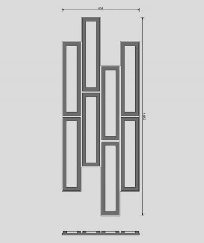 VT - PB52 (S96 ciemny szary) CEGIEŁKA - Panel dekor 3D beton architektoniczny