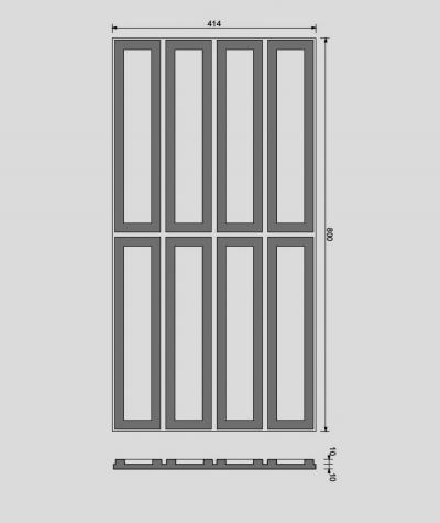VT - PB51 (B8 anthracite) RECTANGLES - 3D decorative panel architectural concrete