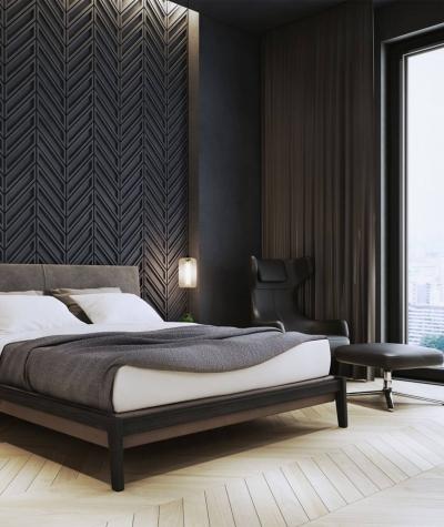 VT - PB50 (S96 dark gray) HERRINGBONE - 3D decorative panel architectural concrete