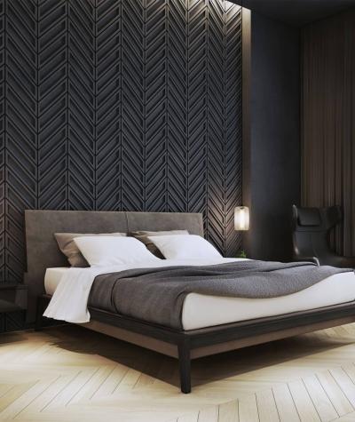 VT - PB50 (B15 black) HERRINGBONE - 3D decorative panel architectural concrete