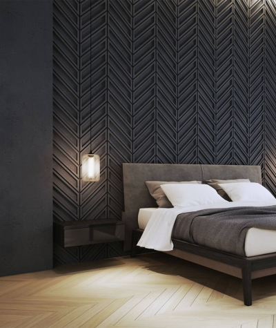 VT - PB50 (S95 light gray - dove) HERRINGBONE - 3D decorative panel architectural concrete