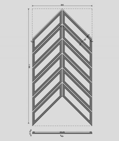 VT - PB50 (BS snow white) HERRINGBONE - 3D decorative panel architectural concrete