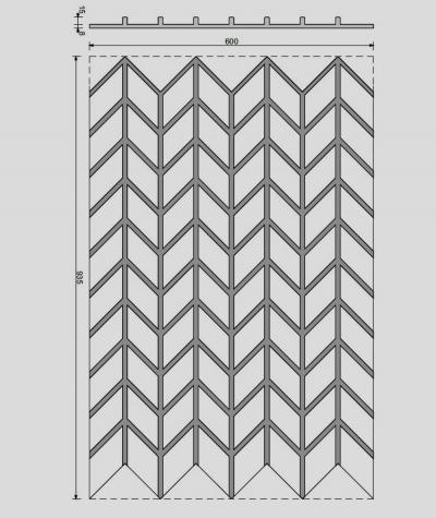 VT - PB49 (B1 gray white) HERRINGBONE - 3D decorative panel architectural concrete