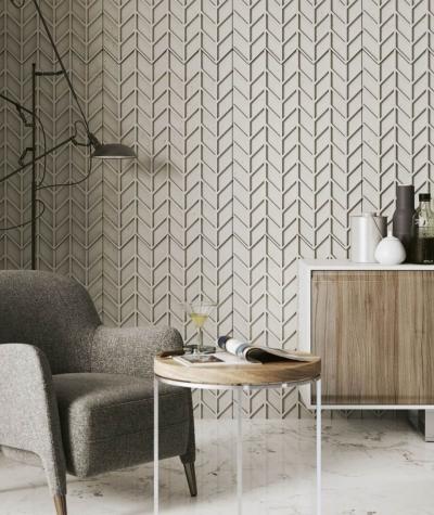 VT - PB49 (S95 light gray - dove) HERRINGBONE - 3D decorative panel architectural concrete