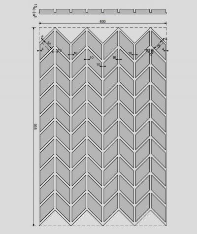 VT - PB48 (B1 gray white) HERRINGBONE - 3D decorative panel architectural concrete
