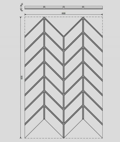 VT - PB47 (B0 white) HERRINGBONE - 3D decorative panel architectural concrete