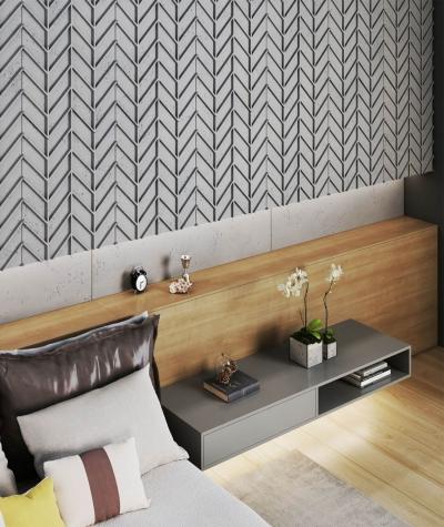 VT - PB47 (S51 dark gray - mouse) HERRINGBONE - 3D decorative panel architectural concrete