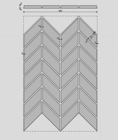 VT - PB46 (S50 light gray - mouse) HERRINGBONE - 3D decorative panel architectural concrete