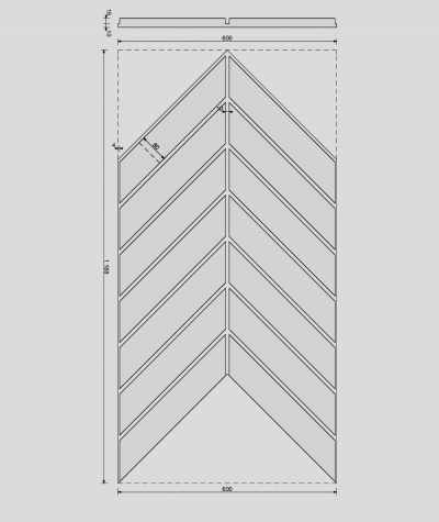 VT - PB44 (S95 light gray - dove) HERRINGBONE - 3D decorative panel architectural concrete