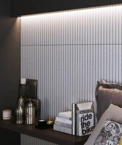 VT - PB38 (B1 siwo biały) LAMEL - Panel dekor 3D beton architektoniczny