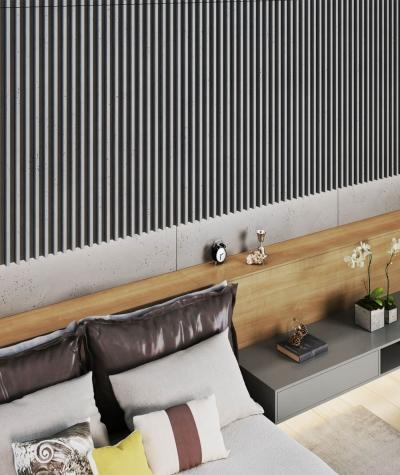 VT - PB38 (KS kość słoniowa) LAMEL - Panel dekor 3D beton architektoniczny