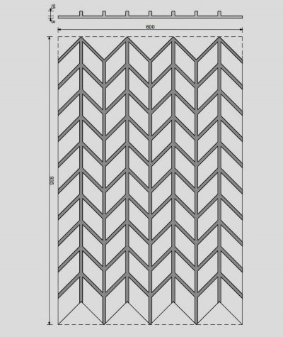 VT - PB49 (C4 brick) HERRINGBONE - 3D decorative panel architectural concrete