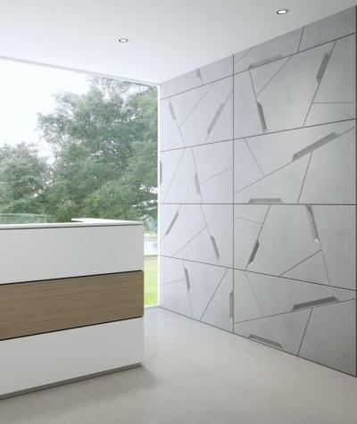 VT - PB18 (B1 gray white) SPACE - 3D architectural concrete decor panel