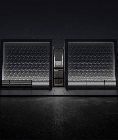 VT - PB36 (BS snow white) TRIANGLE - 3D architectural concrete decor panel