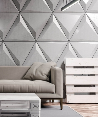 VT - PB36 (S51 dark gray - mouse) TRIANGLE - 3D architectural concrete decor panel