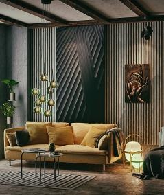 GD - (7 lamellas, capri ash) - Decorative lamellas on the board