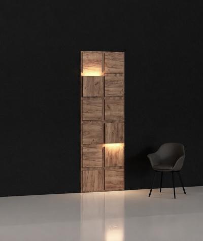 BLOOKi - dąb szlachetny, panel 3D na ścianę z oświetleniem