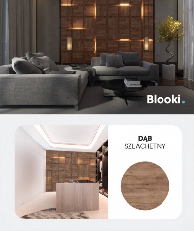 BLOOKi 3D panel with integrated lighting - noble oak