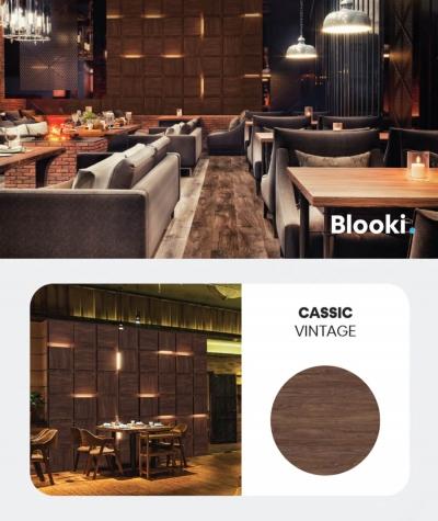 BLOOKi - classic vintage, panel 3D na ścianę z oświetleniem