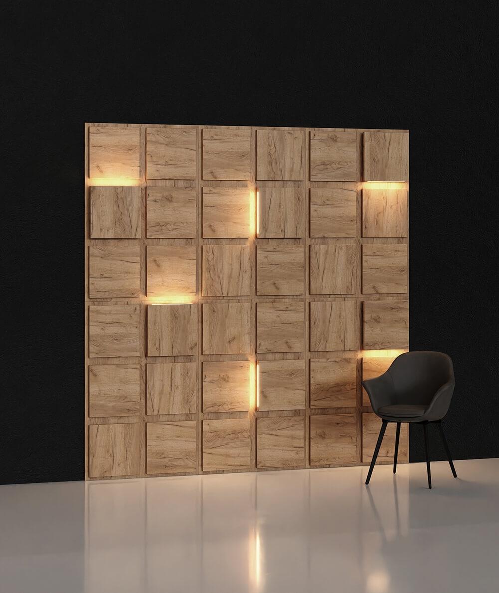 BLOOKi - dąb naturalny, panel 3D na ścianę z oświetleniem