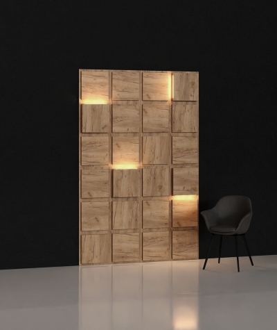 BLOOKi 3D panel with integrated lighting - natural oak