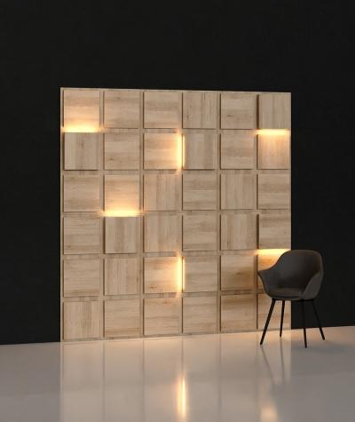 BLOOKi 3D panel with integrated lighting - sea oak