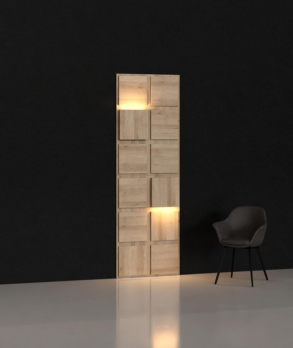 BLOOKi - dąb morski, panel 3D na ścianę z oświetleniem