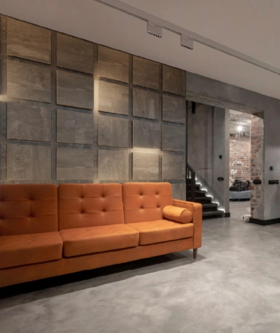 BLOOKi - beton naturalny, panel 3D na ścianę z oświetleniem