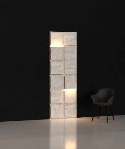 BLOOKi 3D panel with integrated lighting - natural concrete