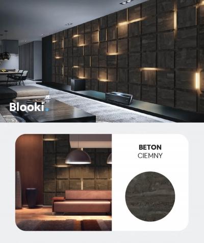 BLOOKi - beton ciemny, panel 3D na ścianę z oświetleniem
