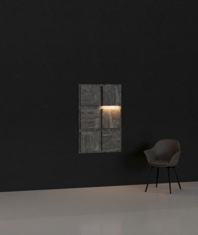 BLOOKi 3D panel with integrated lighting - dark concrete
