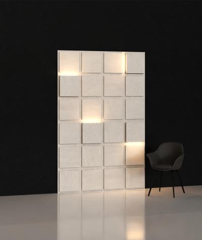 BLOOKi - beton jasny, panel 3D na ścianę z oświetleniem