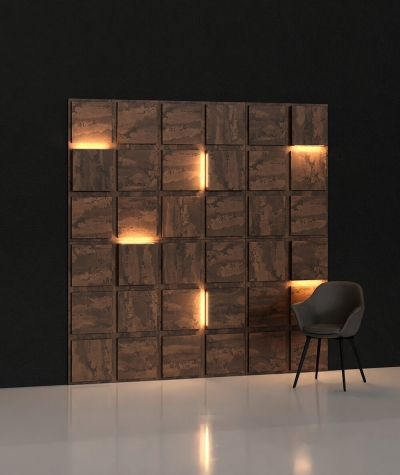 BLOOKi 3D panel with integrated lighting - rusty concrete