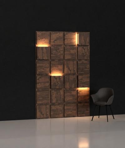 BLOOKi - beton rdzawy, panel 3D na ścianę z oświetleniem